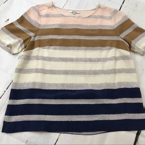 Madewell Tops - Madewell Striped Silk Short Sleeved Blouse